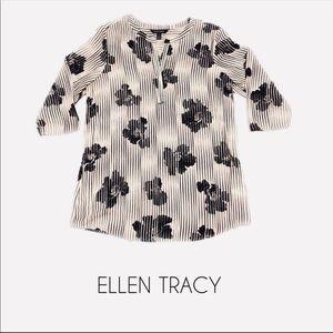 Ellen Tracy | Black & White floral blouse